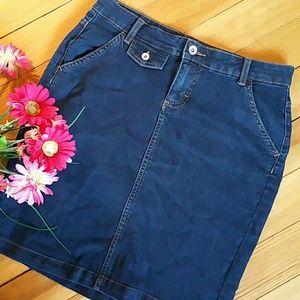 Dark Denim Mini Skirt with Back Flap Pockets